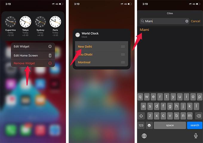 Change Time Zone on iPhone World Clock Home Screen Widget