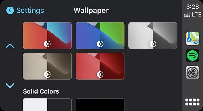 Choose Wallpaper from Apple CarPlay