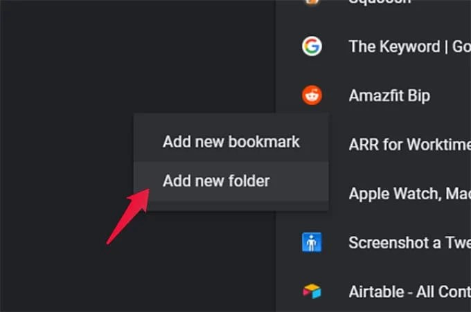 Create New Folder in Chrome Bookmarks