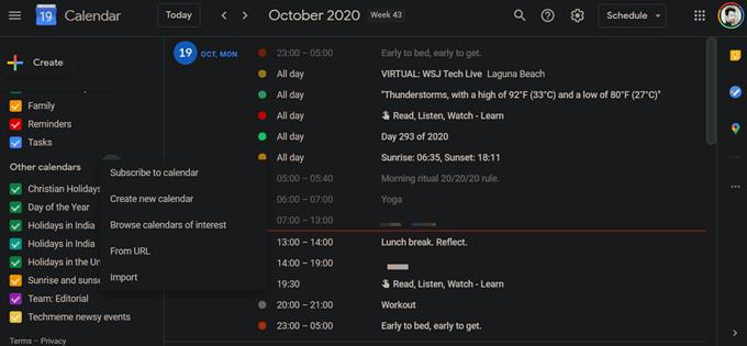 adding new calendars in google