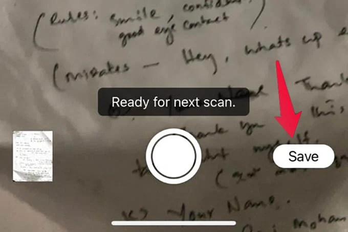 Save Scanned Document iPhone