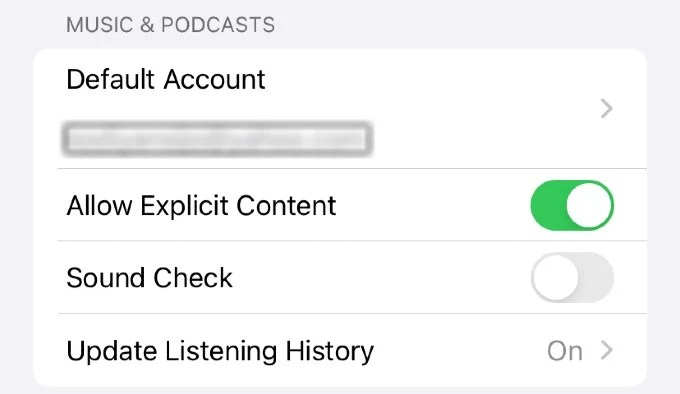 HomePod Music Podcasts Settings