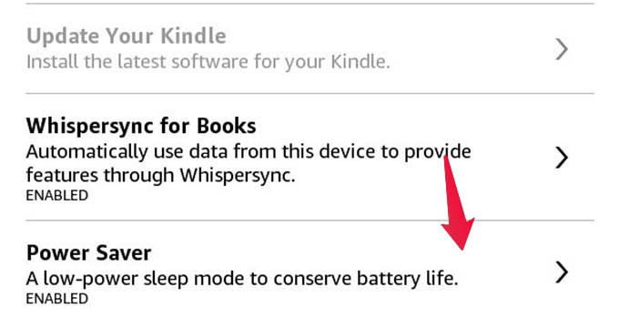 Power Saver Mode In Kindle