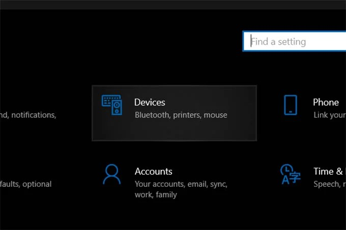 Go to Windows 10 Devices Settings