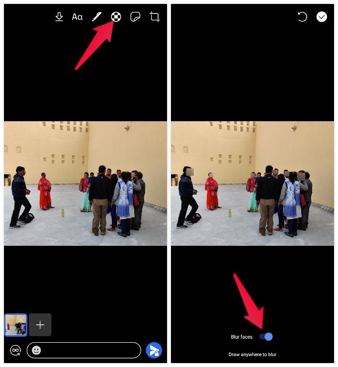 Blur faces before sending image