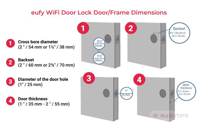 eufy WiFi Door Lock Door/Frame Dimensions