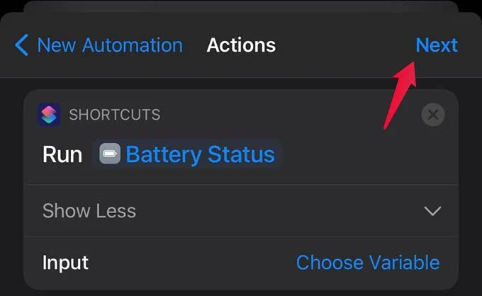 Add Action to Shortcut and Tap Next