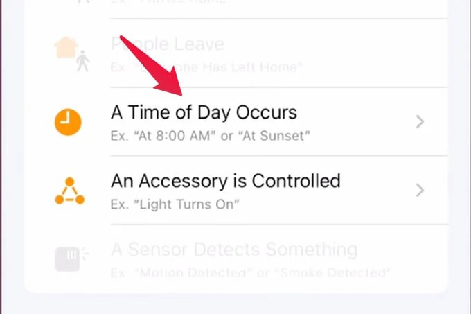 Automation for a Time of the Day Occurs in HomeKit