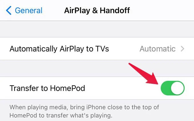 Disable Transfer to HomePod