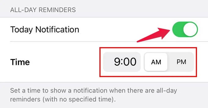 Enable Today Notifications and Set All Day Reminder Notification Time on iPhone
