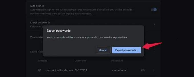 Export Passwords Prompt
