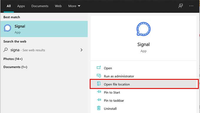 Open File Location Signal App Windows
