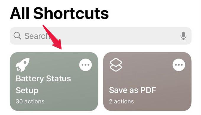 Run Battery Status Setup Shortcut on iPhone