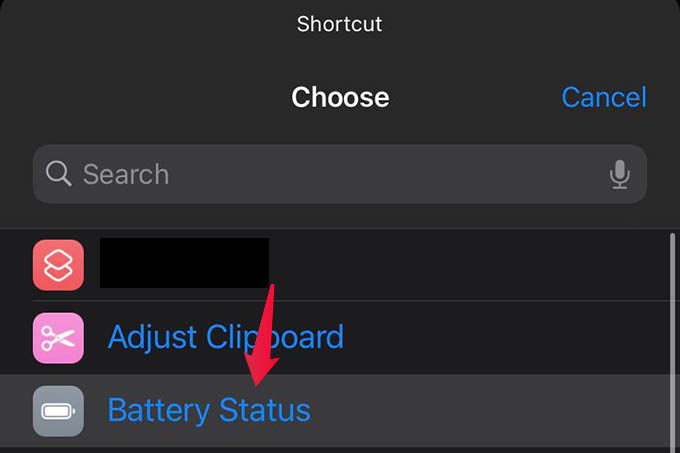 Select Battery Status Shortcut on iPhone