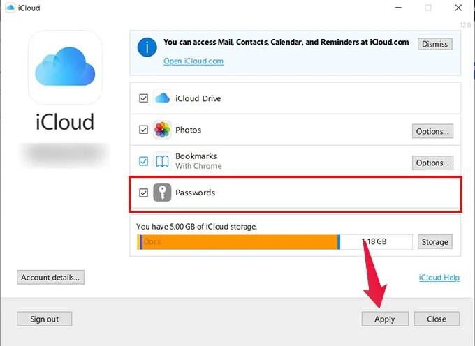iCloud Passwords Enable in Windows