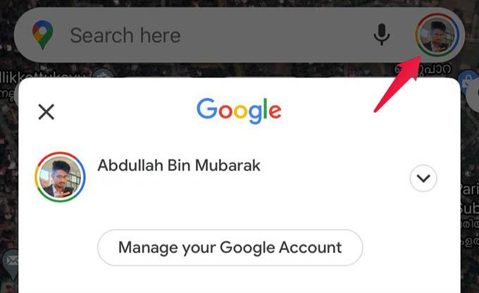 Google Maps Profile Menu