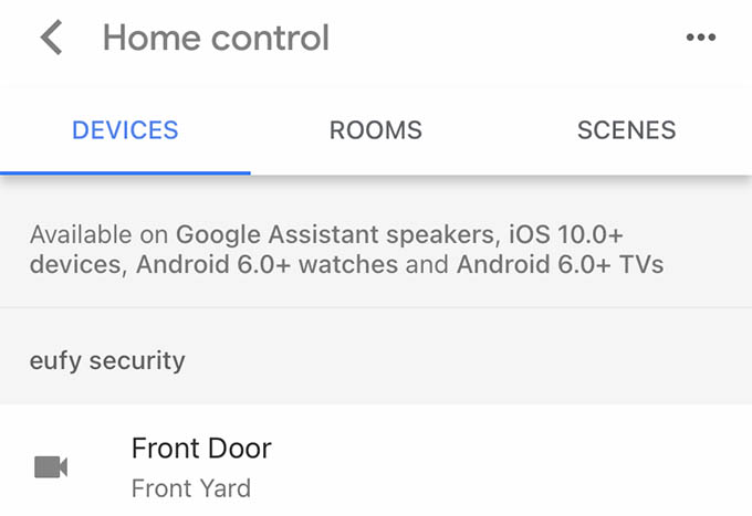 Home Control in Google Home Devices Settings