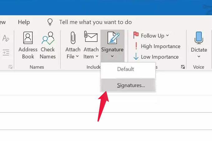 Outlook Signature Option in PC