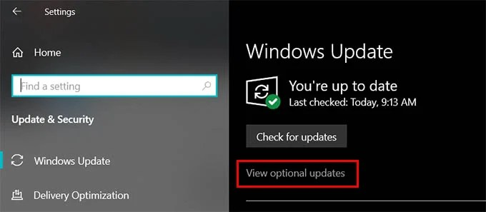 Windows 10 Updates Optional Updates