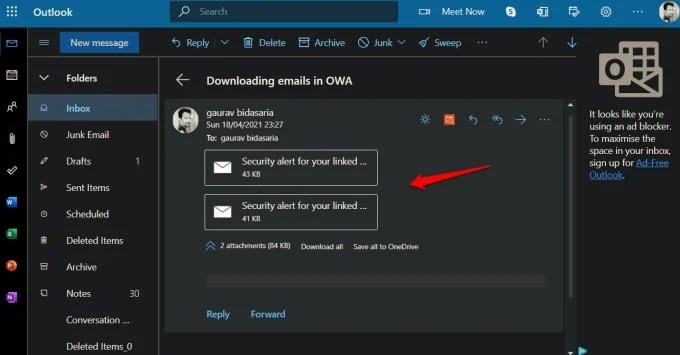attached emails in OWA new email to download