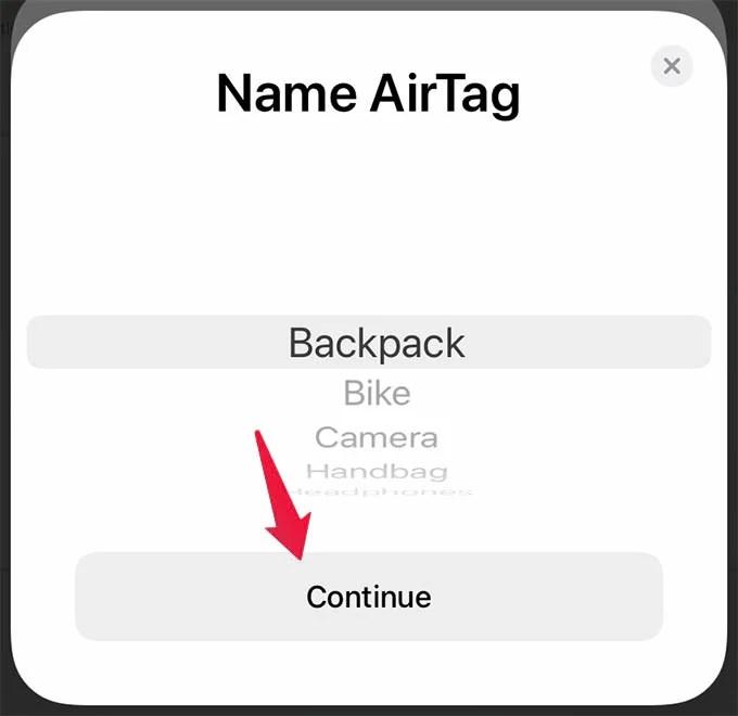 Set Up AirTag and Name AirTag