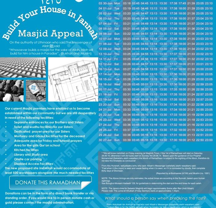 Ramadhan Timetable 2014