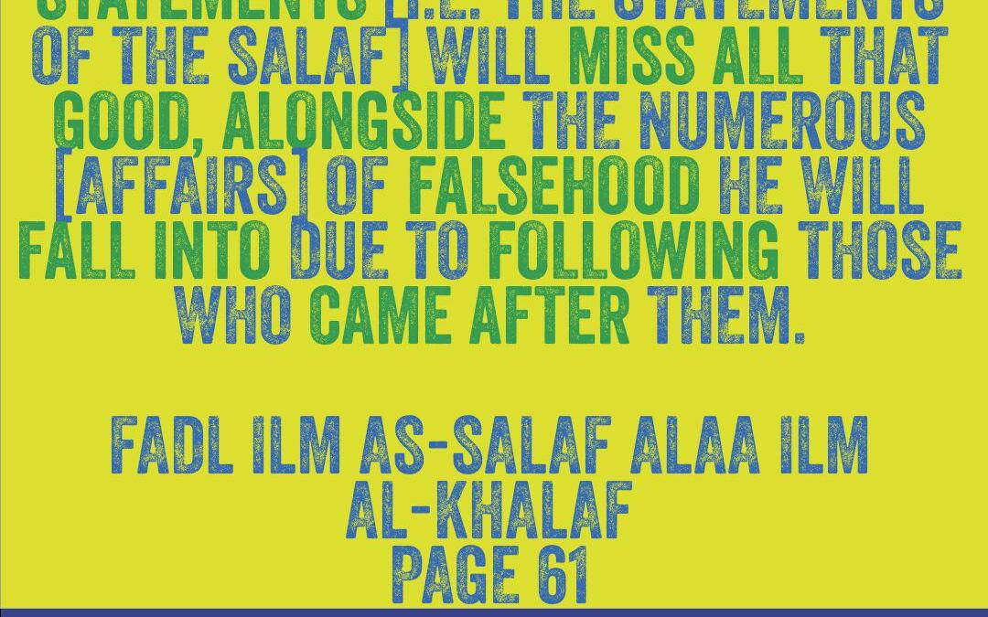 A Glimpse into the Excellence of the Knowledge of the Salaf- by Imaam Ibn Rajab