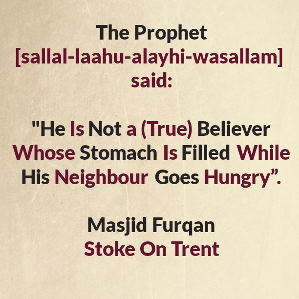 The One Who Has Enough Food Whilst His Neighbour Is Hunger, But Does Not Share!