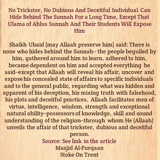 No Impostor Can Hide Behind The Sunnah For a Long Time, Rather We Ask Allaah to Protect Us and Guide Them