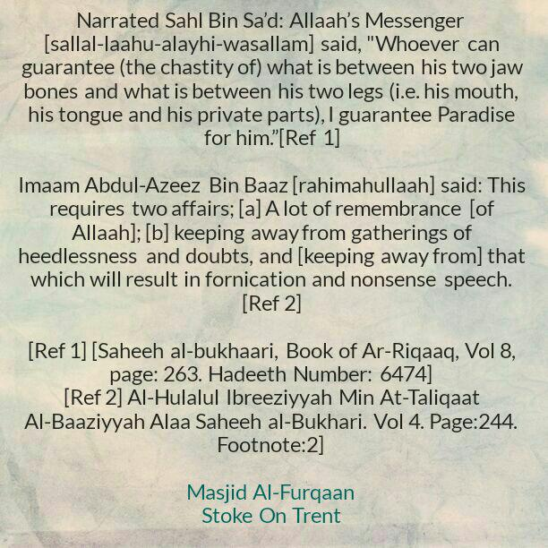 Chastity of The Tongue and Private Parts – [A Path to Paradise InShaaAllaah]