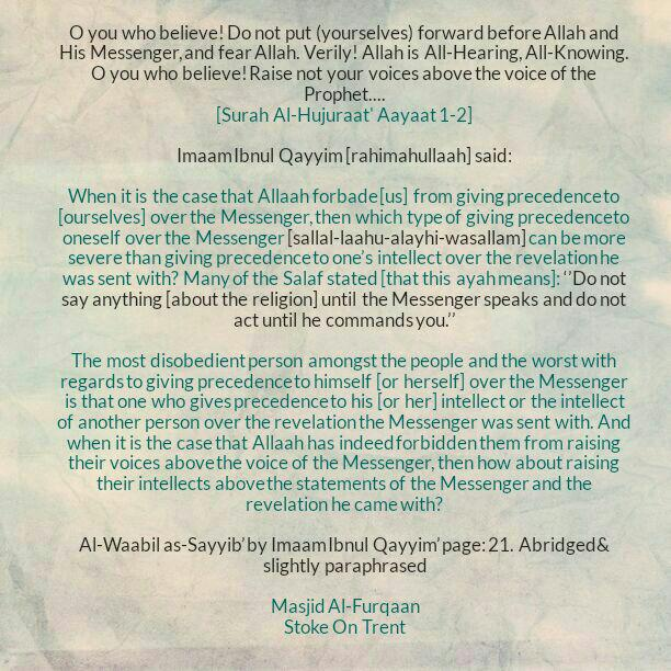 Who Is the Most Disobedient Person and The Worst with Regards to Giving Precedence to Himself [or Herself] Over the Messenger?