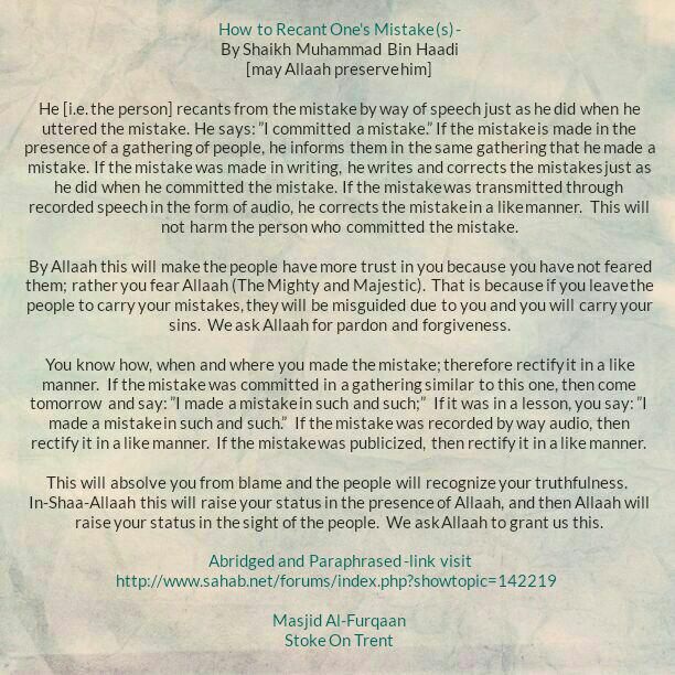 How to Recant One's Mistake (s)- By Shaikh Muhammad Bin Haadi [may Allaah preserve him]
