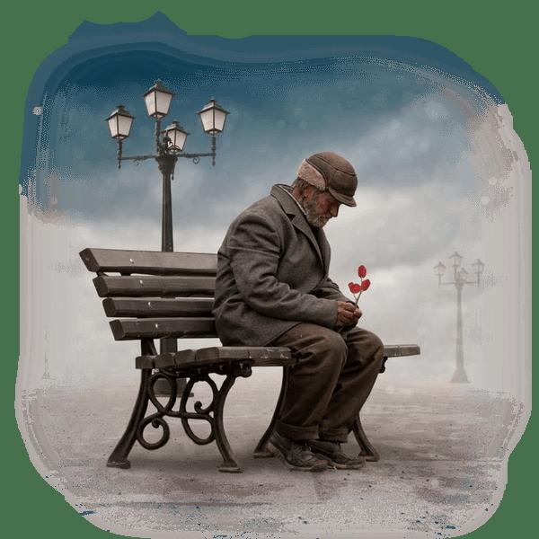 vieil homme sur un banc
