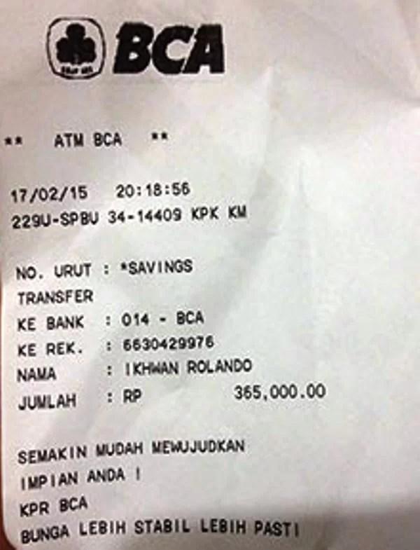 Bukti Transfer M Banking BCA ke BRI