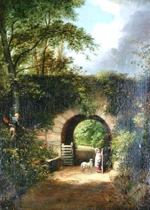 wells-girl-with-a-lamb-on-a-country-lane-by-an-archway-with-two-young-boys-climbing-a-tree.1259948509.jpg