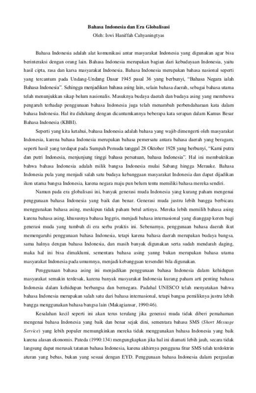 Contoh Artikel Dalam Pelajaran Bahasa Indonesia