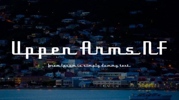 font tegak bersambung - Uppen Arms NF Font