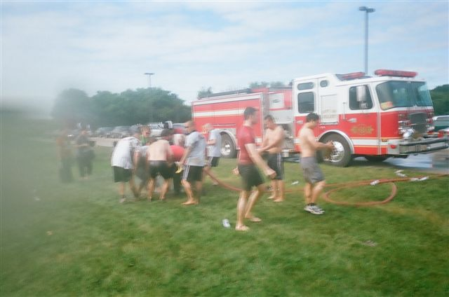 Firefighters. Big Hoses. Water. Yes, please.