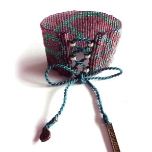 Wakami Missing Link Purple Beaded Cuff Bracelet WA0348, brett, armband, lila, turkos rosett, smycke, pärlor