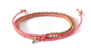 armband, double wrap, Fair Trade, Guatemala, guld, halsband, konsthantverk, Life Is What You Make of It, rosa, smycken