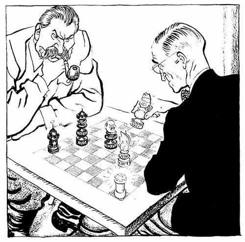 Truman and Stalin play chess, by Leslie Illington - Berlin Airlift - George Mason U image