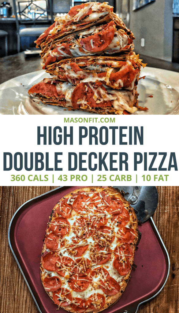 A #macrofriendly pizza recipe that will leave you full, satisfied, and with calories left over for dessert! #iifym #highproteinrecipes #fatlossrecipes