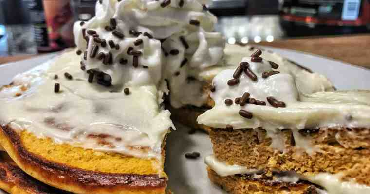 High Protein Pumpkin Pancakes and Vanilla Frosting Recipe
