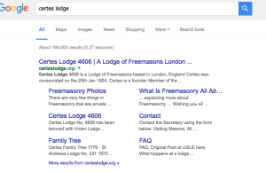 Certes Lodge Masonic Website Sitelinks