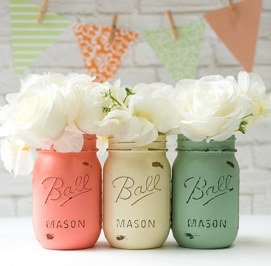 mason jar crafts, mason jar ideas, Mint Coral Wedding Mason Jar Vases