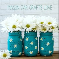 Painted Daisy Mason Jars