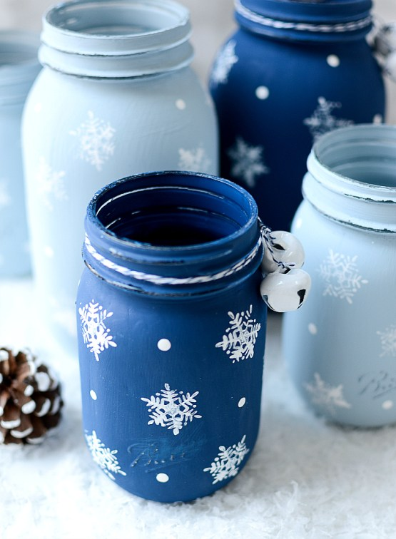 mason jar crafts, mason jar ideas, Stamped Snowflake Mason Jars