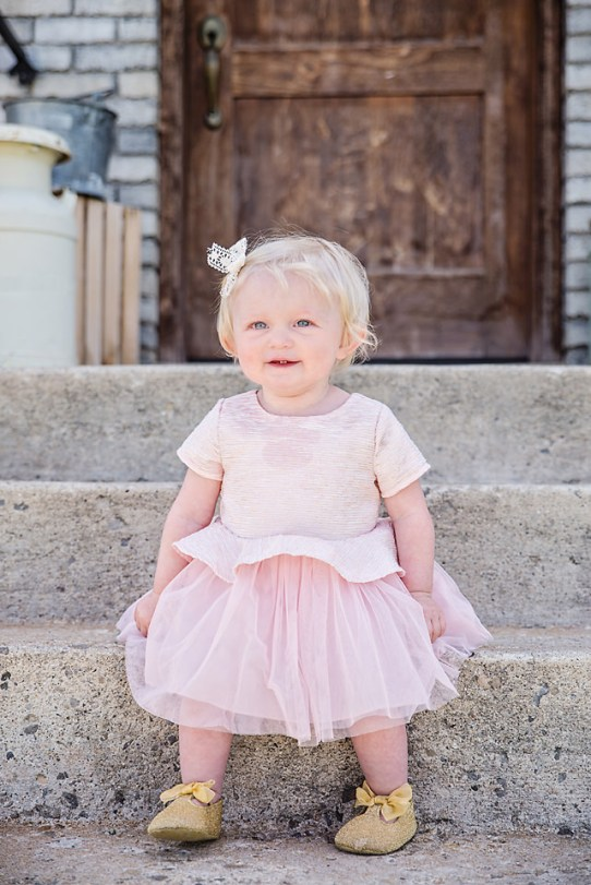 Easter Pictures smiling baby on step pink dress