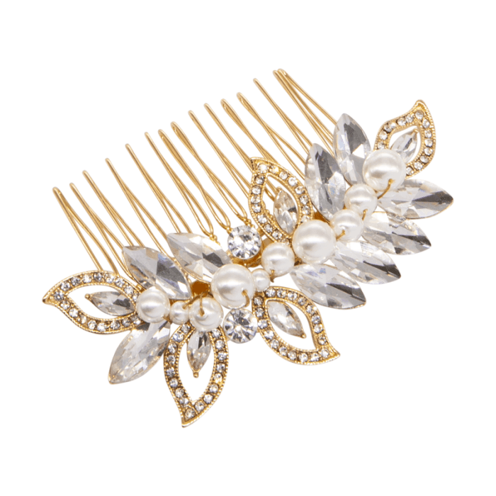 Our classic brides will love our Cassandra hair comb. Providing beautifully crafted hand man-made ivory pearls on a gold finish.