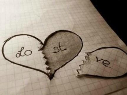 pas de calins lost love coeur dessin